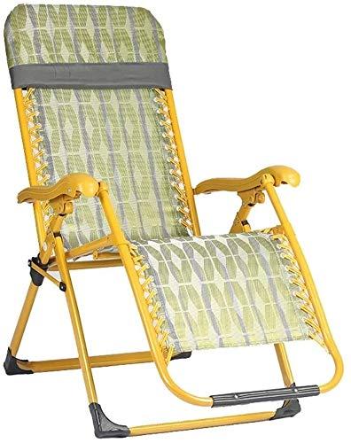 PARTAS Ein Sonnenbad nehmen Daze Liegestühle, Gelb Sommer Klappstuhl Mittagspause Chair Tragbarer Beach Chair Heim Einzel Freizeit-Stuhl Ältere Stuhl faul Sofa Zero Gravity Chair, mit Anti-Rutsch-Füße
