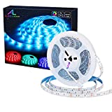 ALED LIGHT Tira de Luz Impermeable IP65 LED Strip RGB 5M 5050 SMD Cinta LED 300 (60 LED/Metro) + 44 Mando a Distancia Clave + Adaptador de Corriente 12V 5A + Receptor + Descripción del Producto