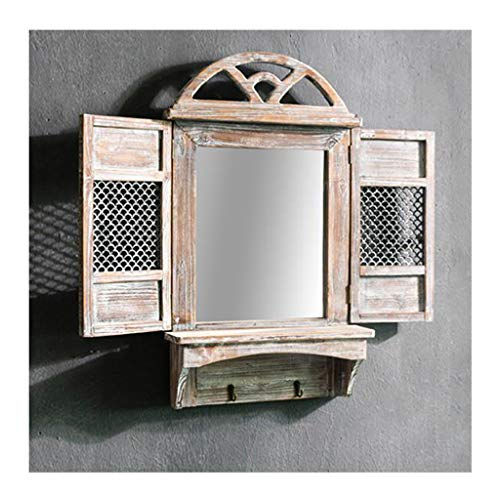 Diseño de Ventana Espejo de Pared Decorativo Rústico Granja Vintage Espejo de Madera Envejecida Decoración de Pared Gancho de Hierro Forjado Inferior Diseño De Recorte de Ventana Tamaño Abierto 78x1