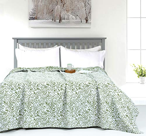 Sage Green Matelassé Floral Throw Blanket - King (90 x 108 inches)
