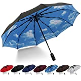 HeHe Parapluie Pliant Coupe-Vent Parapluie Pliable et Compact avec 10 Baleines 210T Tissu Double Couche Parapluie Incassable Ouverture et Fermeture Automatique pour Homme et Femme