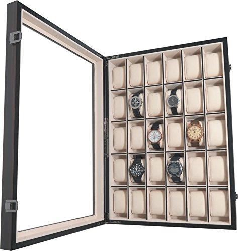 Uhrenbox Holz Für Wand 30 Uhren Sichtfenster Echtglas Uhrenvitrine Uhrenschatulle Mahagoni