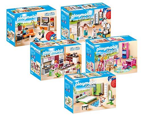 Preisvergleich Produktbild PLAYMOBIL® City Life 5er Set 9267 9268 9269 9270 9271 Wohnzimmer + Badezimmer + Große Familienküche + Fröhliches Kinderzimmer + Schlafzimmer