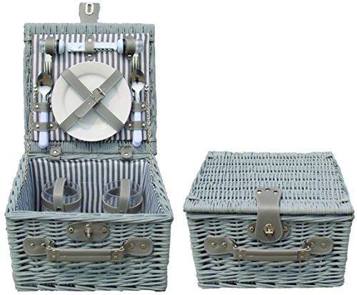 My Flair Picknickkoffer grau/weiß für 2 Personen