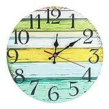 LOHAS Home 30 cm Reloj de Pared de Cuarzo Estilo Toscano Vintage Francesa Paris Reloj de Madera (Lake House)