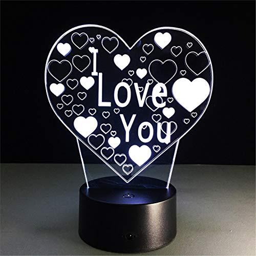 LBJZD luz de noche Lámpara De Visión Estéreo 3D De Amor, 7 Colores Que Cambian, Luz De Noche De Noche De Dormitorio Usb, Lámpara De Escritorio Creativa Para Novia, Boda Con Mando A Distancia