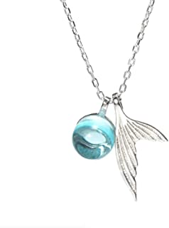 Nautical Themed Whale's Tear Necklace for Women 925 Silver Dolphin Fish Tail Mermaid Beach Ocean Jewelry