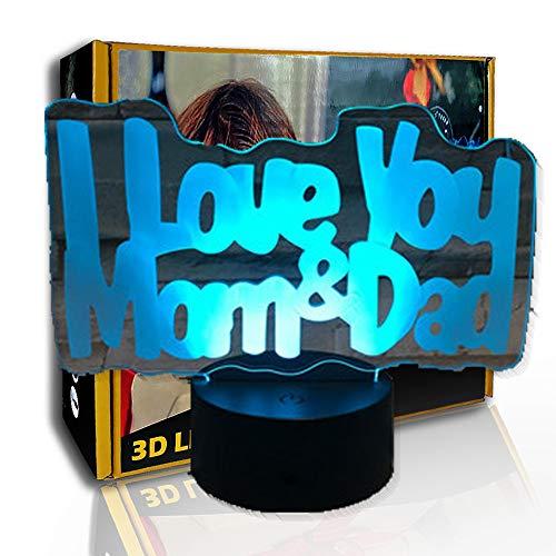JINYI 3D Nachtlicht Ich liebe dich Mama Papa, LED Kreativlampe, Acryl, D - Remote Crack White (7 Farbe), Schlaflampe, Kindergeschenk, Bunter Farbverlauf, LED-Beleuchtung