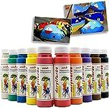 Play malmit® Acrylfarbe je 250 ml Künstler Acryl Malfarben auf Wasserbasis | Seidenmatt | wasserfest | für Pinsel und Schwamm auf Leinwand, Holz und Papier (Weiss)
