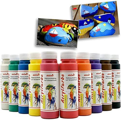 Play malmit Acrylfarbe je 250 ml Künstler Acryl Malfarben auf Wasserbasis | Seidenmatt | wasserfest | für Pinsel und Schwamm auf Leinwand, Holz und Papier (Schwarz)