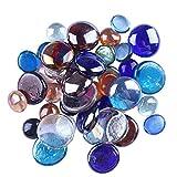 EXCEART 80 Piezas de Gemas de Vidrio de Color Piedras Decorativas de Mármol Plano de Color Canicas Planas de Cristal para Centros de Mesa Cuentas de Vidrio Decorativas