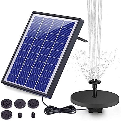 AISITIN 6.5W Solar Springbrunnen Upgraded Solar Teichpumpe mit Solar Panel Eingebaute Batterie Wasserpumpe Solar Schwimmender Fontäne Pumpe mit 6 Fontänenstile für Garten Vogel-Bad Teich