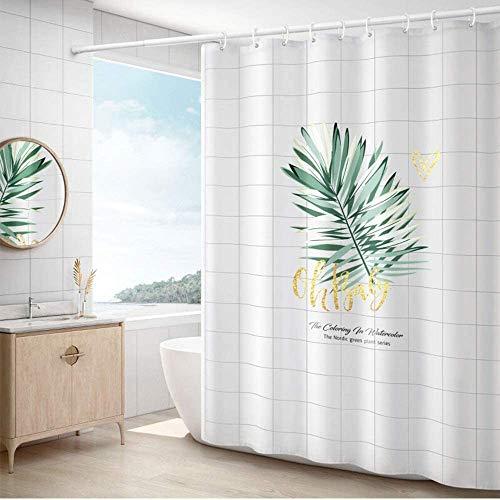 Gordijn Douchegordijn Waterproof Bath Curtain midew Resistant Washable Tropische Bladeren ontworpen badkamer Curtain Polyester douche douchegordijn Liner for Badkamer (Kleur: Wit, Maat: 100x180cm)