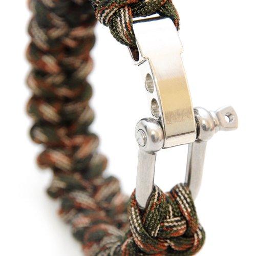 Universel de survie (compact) indéchirables pour bracelet tressé en «solide type corde de parachute»/«»/«550 cord» (kernmantel-cordage en nylon et acier inoxydable réglable en métal à vis, longueur totale: 23 cm-couleur: camouflage important: lb/inadapté à l'escalade
