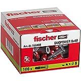 fischer 555008 DuoPower Aire Acondicionado, Pared, universales, hormigón, Profesional Unidades, Gris, 8x40 (Caja 100 tacos), Set Piezas