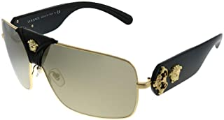 Versace Squared Baroque VE 2207Q 1002/5 Gold Black Leather Metal Square Sunglasses Gold Mirror Lens