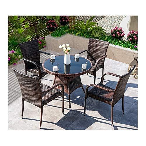 Conjunto de muebles de patio y silla de mimbre Rat Muebles de patio Conjuntos de muebles de jardín de ratán Patio Rattan Mesa de comedor Set Mimbre Tejido para el jardín al aire libre junto a la pisci