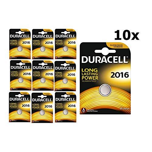 10Batterien CR2016Knopfzellen Lithium Modell Batterien Duracell für Maschinen zu berechnen und Uhren
