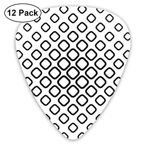 Guitar Picks12pcs Plectrum (0.46mm-0.96mm), Trippy Fractal Geometric Rounded Square Shapes Minimalist Artisan Pattern,For Your Guitar or Ukulele