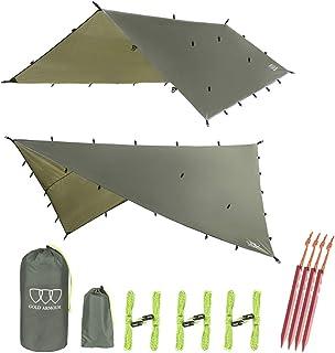 Gold Armour 12ft Extra Large Tarp Hammock Waterproof Rain Fly Tarp 185in Centerline - Lightweight Ripstop Fabric - Stakes ...