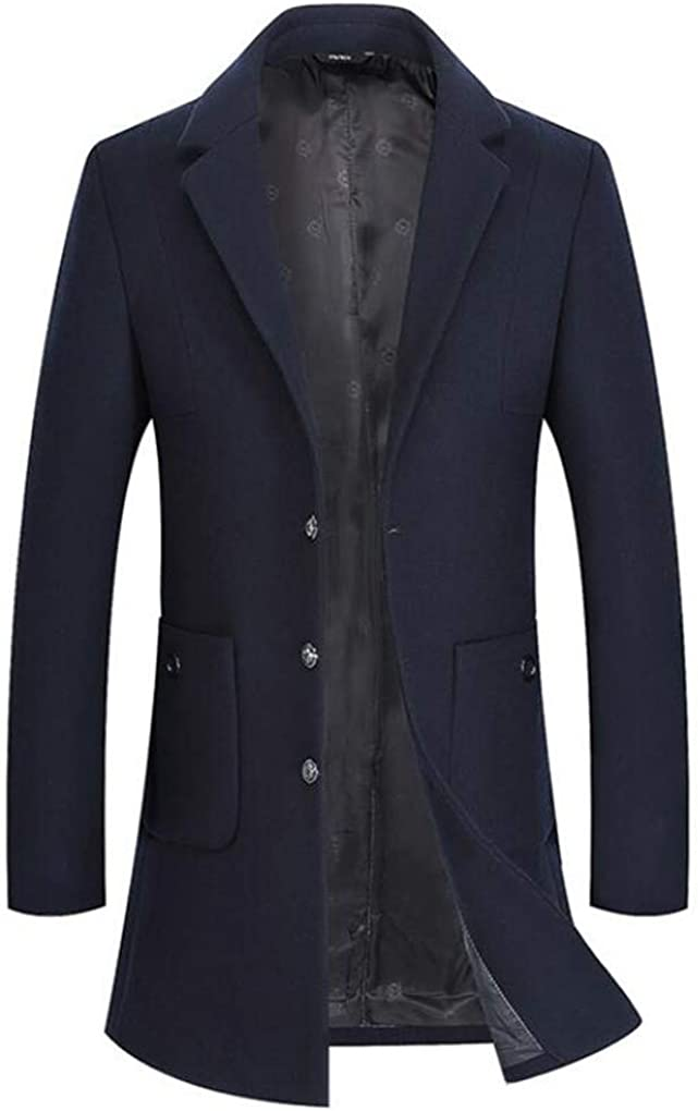 Cafuny Mens Wool Blend Winter Peacoat Long Jacket Business Overcoat Trench Coat