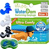 WaterDam Swimming Ear Plugs for Adults and Kids 14yr up – 3 Pairs Ultra Comfy Waterproof Earplugs, Prevent Swimmer's Ear (Blue White Black)