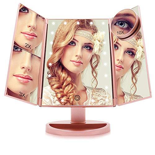 Espejo Maquillaje con Luz Aumentos 10x, 3X, 2X, Regulable Espejo Maquillaje Tríptica con Pantalla Táctil, Espejo Tocador de 180 ° Rotación Apoyo Recargable o Batería (Oro Rosa)