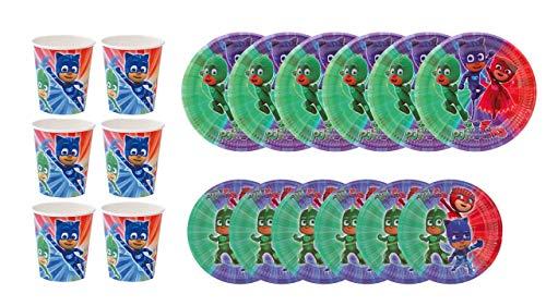 PJ Masks 1101, Pack Fiestas y cumpleaños Basic, Compuesto por 6 Vasos, 6 Platos 18 cm y 6 Platos 23 cm