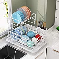 1Easylife 2-Tier Rustproof Dish Drying Rack and Drainboard Set