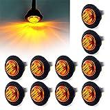 Ricoy - Luz LED redonda de 3/4 pulgadas para marcador delantero y trasero, impermeable, 12 V, para coche o camión (amarillo)