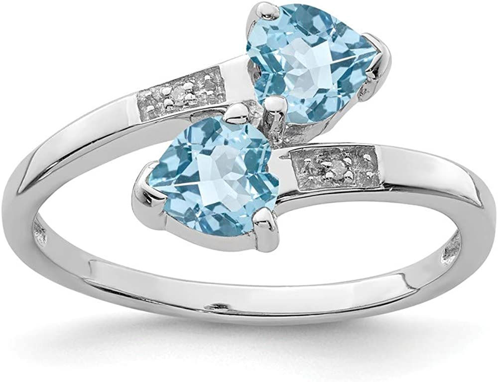 925 Sterling Silver Swiss Blue Topaz Lov Ring Diamond Heart Ranking New product!! TOP13 Band