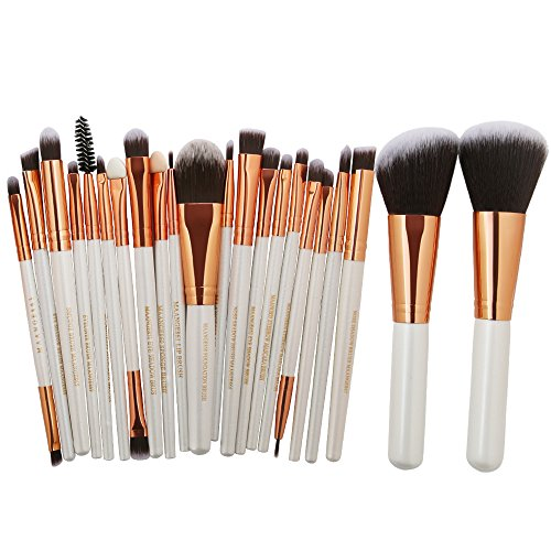 KOLIGHT 22 stks Pro Make-up Set Poeder Gezicht Foundation Oogschaduw Eyeliner Lip Cosmetische Borstels White+Rose Gold