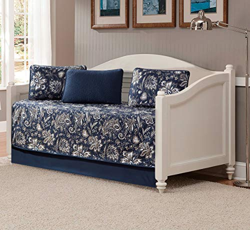 Better Home Style 5 Piece Daybed Navy Dark Blue Luxury Lush Soft Floral Flowers Paisley Printed Design Coverlet Bedspread Bed Cover Quilt Set # Janna...