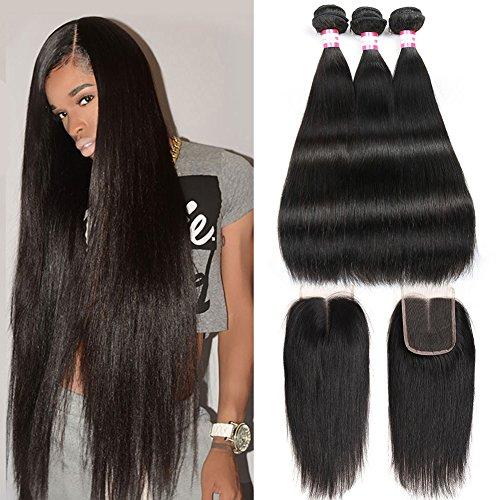 CYNOSURE Brazilian Virgin Hair Straight 3 Bundles with Closure 4x4 Middle Part Human Hair Bundles with Closure Natural Black (18 20 22+16 inch closure)