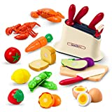 GrowthPic Pretend Play Kitchen Accessories Toy, Cutting Playset and Play Food, Toy Kitchen Sets with Play Fruits Vegetables for Kids Toddlers Boys Girls