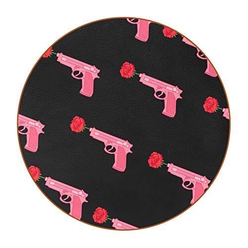 Posavasos Originales Rose Gun Juego de 6 Posavasos para Regalo Antideslizante Protección de Mesa Coasters para Bebidas frías y Calientes, Café, Vasos, Tazas 11cm