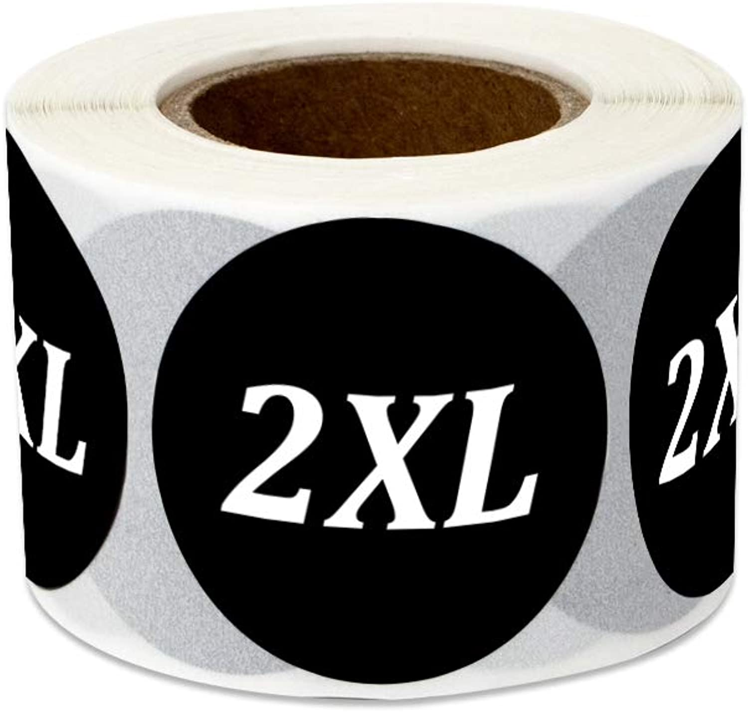 600 Labels - Size 2XL Stickers for Clothing Sizing Retail Shops Apparel Extra Extra-Large (1.25 Inch Round Black - 2 Rolls)