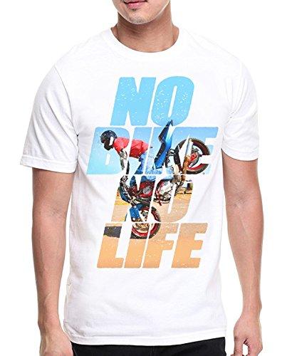 Marvelous Brand T-Shirt Homme Blanc, Moto, Motard - No Bike No Life (Plusieurs Tailles) (XL)