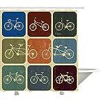 Yeuss Vintage Duschvorhang, Fahrrad Retro Bild Collage, Stoff Bad Dekoration Set mit Haken, mehrfarbig 72