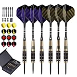 LARRITS 6 Pack 24 Grams Steel Tip Darts Set with Aluminum Dart Shafts, Include 18 pcs Dart Flights + 6 pcs Spare Aluminum Dart Shafts+ 6 pcs Rubber O-Rings + Dart Sharpener + Storage Case