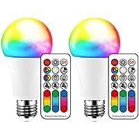 iLC Bombillas Colores RGBW Lámpara LED Bombilla Regulable Cambio de Color Blanco Cálido 2700K A60 Edison 10W Esférica E27 Casquillo Gordo - RGB 120 Colore - Equivalente de 60 Watt (Pack de 2)