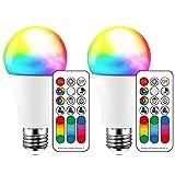 Bombilla de luz LED que cambia de color, 120 colores, equivalente a 70 vatios, luz estroboscópica de bricolaje, blanco cálido 2700K RGB con control remoto, tornillo LED 10W A60 E27 (paquete de 2)