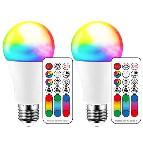 Farbwechselnde LED-Glühbirne, 120 Farben, 70-Watt-Äquivalent, DIY-Blitz, warmweißes 2700K-RGB mit Fernbedienung, LED 10W A60 E27-Schraube (2er-Pack)