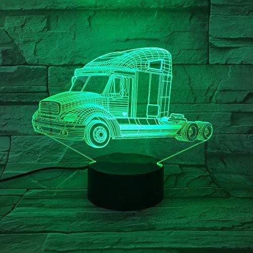 Visuelle Lampe, schwere LKWs Autolampe 7 Farbwechsel Touch-Schalter Schlafzimmer-Innenlampe Party-Deko-Lampe Kindertagesgeschenke Drei-in-Eins-Modus Schlaflicht für Kinder Schlafzimmer Acryl 3D