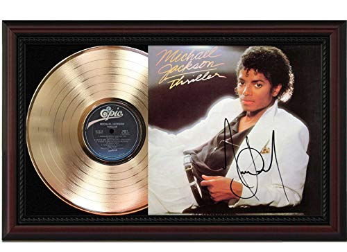Michael Jackson Thriller Cherrywood Framed LP Record Signature Display M4