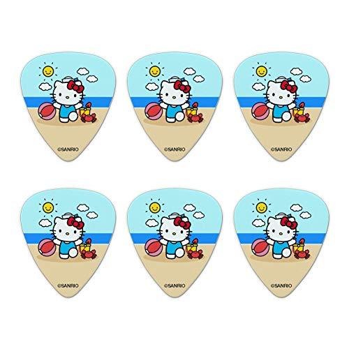 Hello Kitty Day at the Beach Novelty Guitar Picks Medium Gauge - Set of 6