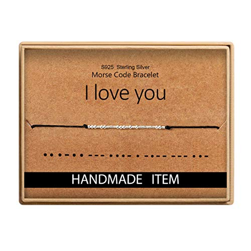 I Love You Morse Code Bracelet Gift for Her Sterling Silver Beads on Silk Cord inspirational Gift for Mom