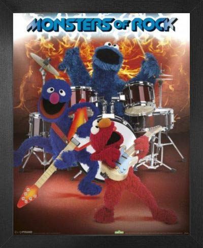 1art1 Sesamstraße Mini-Poster und MDF-Rahmen - Monsters of Rock (50 x 40cm)
