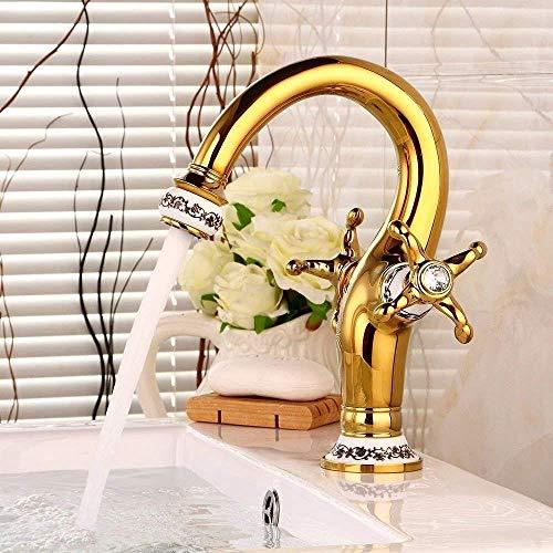 GUOCAO Baño Lavabo Lavabo Grifo Grifo Mezclador Oro Agua Caliente y Fría Cerámica Un solo Agujero Doble Manija Lavabo Grifo Baño Bar Grifo Cocina