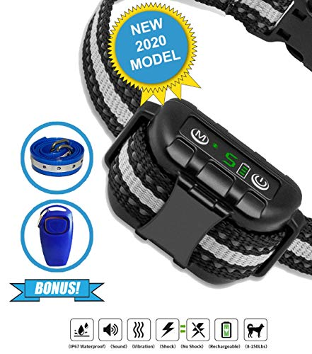 Best Dog Bark Collar for 2020 - Dog Training Collar - Smart Computer Chip Collar for Dogs - Anti Barking Device - Bark Collar Large Dog - Bark Collar Small Dog. Dog Barking Control Devices.